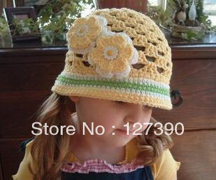Free shipping New Handmade Baby Hat Fashion Crochet Baby Caps Baby Knitted Caps Lovely  Embroidery Hat 5PCS