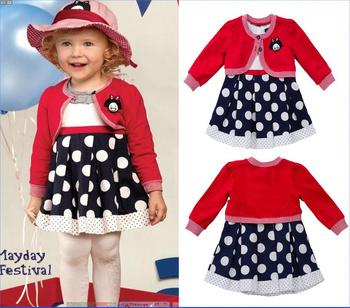 wholesale 5pcs/lot brand new autumn baby girl dress set dresses+ shawl 2pcs suit