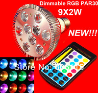 1pcs  Free shipping High Power PAR30 18W 9x2W RGB led spot light RGB led bulb light with remote controller ,led bulb lamp