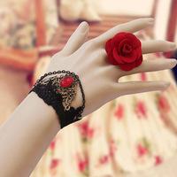 Clearance Party Wedding Gothic style retro rose flower black lace bracelet ring set female festive jewelry wholesale WS-100