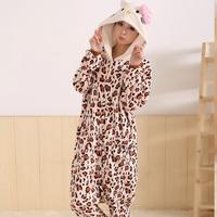 free shipping Coral Fleece Pajamas Leopard grain KT Cosplay Costumes Animal Pyjamas Sleepwear Sleepsuit Toilet Edition