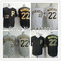 Free shipping Men's Baseball Jerseys Pittsburgh Pirates #22 Andrew McCutchen Black White Gray Cool base Size:48-56 Can Mix order