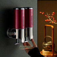 Anmon stainless steel panel soap dispenser double slider manual soap dispenser soap box hand sanitizer bottle