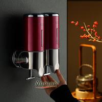 Anmon stainless steel panel soap dispenser double slider manual soap dispenser soap box hand sanitizer bottle