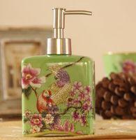 Hand painting ceramic lotion bottle new chinese style crack glaze soap dispenser fashion classical hand sanitizer bottle parrot