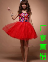 Sexy women sexy tube top handmade colorful button puff skirt wedding dress costume dress skirt  Free Shipping