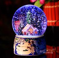 Christmas colorful light emitting crystal ball music box music box