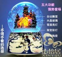 Voice-activated light snowdrift crystal ball rotating music box birthday gift