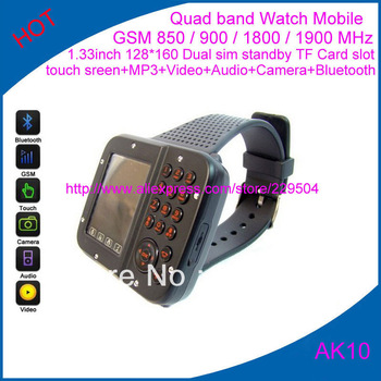 Quad band watch mobile phones AK10 1.33inch touch screen 128*160 +mp3+video+audio+Camera watch mobile free shipping Wholesale