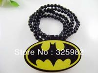 Wholesale 5Pcs/Lot Batman Pendant Good Wood Wooden Fashion Dancer Color Hip-Hop Cowboy Necklace