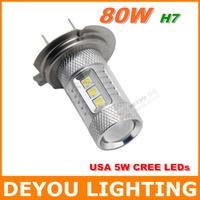 2pcs CREE 80W H7 LED Fog Light Bulb car DRL Driving  light lamp Xenon white 12V 24V 1year warranty