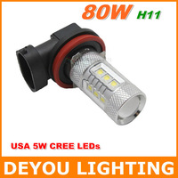 2pcs CREE 80W H11  LED Fog Light Bulb car DRL Driving  light lamp Xenon white 12V 24V 1year warranty