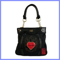 Free shipping cheap ed hardy Hot sell 2014 print red heart women ed hardy Bag Women's Messenger Bags Handbag