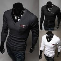 Free shipping 2013 New Men Slim V-neck long-sleeved t-shirt design pocket Patchwork  M~XXL