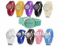2013 New Shadow Rose-Gold Colored Style Geneva Watch Rubber Candy Fashion Unisex Silicone Quartz Watches Wristwatch 100pcs/lot