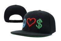 Free shipping Peace love money snapbacks cap hiphop adjust bboy hip-hop hat flat brim cap
