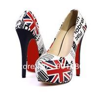 Wholesale - Hot Fashion Women Lady Platform Pumps Flag Stiletto High Heels Shoes