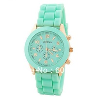 New Shadow Rose-Gold Colored Style Geneva Watch Rubber Candy Fashion Silicone Quartz Watches Wristwatch 100pcs/lot Via DHL