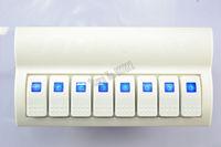 NEW 2PCS Rocker Switch Panel Waterproof White 8 Gang Marine Boat Caravan Blue LED