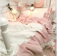 Lovely pink princess quilt cover + flat sheet + pillowcase 100% cotton home textile fashion bedding sets