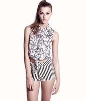 Haoduoyi black-and-white stripe print super elastic low-waist shorts moben trousers hm6 full