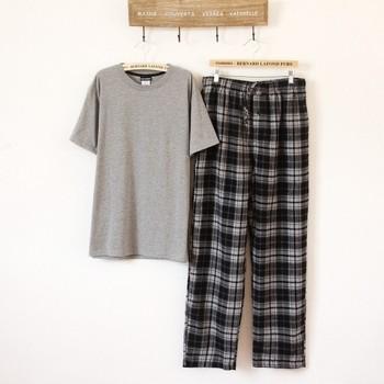 Men's clothing sleepwear plaid lounge set 5