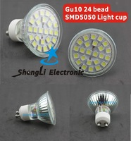 GU10 24 bead SMD5050 Light cup LED Spot Light Free Shipping 2013 new arrival Wholesale Is white to hall Light Free Shipping