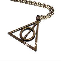 20pcs/lot Bronze Tone Harry Potter Deathly Hallows Long Chain Necklace 70cm