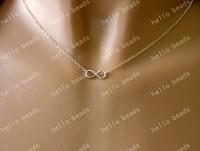 "silver tone infinity symbol necklace charm digital 8 20"""