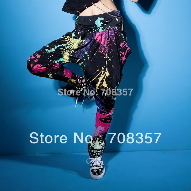 Fashion Painted Women's Harem Pants Loose Stage Dance Hip-hop Long Jazz Sports Pants Low waist Casual Pants(China (Mainland))