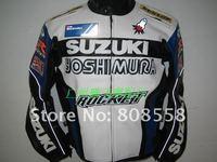 SUZUKI motorcycle Jackets racing jacket black/silver waterproof & windproof PU leather jacket