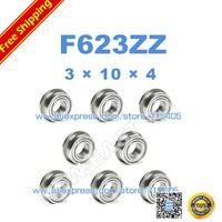 Free Shipping 10pcs Flanged bearing F623ZZ 3x10x4 Shielded Miniature Ball Bearings