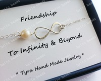 """silver tone infinity symbol necklace with pearl charm digital 8 20"""""""