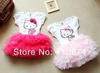 free shipping Retail girl hello kitty cute dress kids tutu dresses for 2-6 years girl high quality