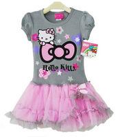 2014 new Retail Girl's dress Pretty Grey Hello kitty printing one piece dress baby Tutu dress Princess dress