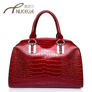 Fashion Crocodile Pattern Bag Cowhide  Messenger  Commercial   women's handbag