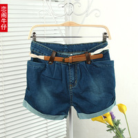 Free shipping Elastic waist shorts mid loose plus size denim shorts female