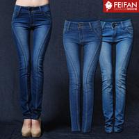 Free shipping Autumn and winter Dark Blue women's mid waist slim jeans skinny pencil pants