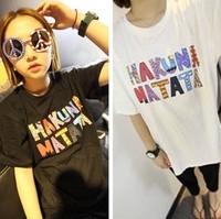 Women's summer all-match women's t-shirt modal short-sleeve cartoon color block decoration letter print three-color t