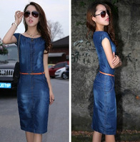 Free shipping 2013 denim one-piece dress vintage slim denim skirt with belt