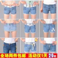 Free shipping 42 denim shorts roll-up hem hole jeans shorts female shorts