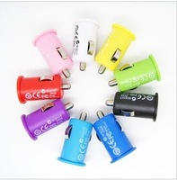 colorful 1000mA Mini car charger usb car charger for iphone 3G 4 4S for samsung HTC.without packing 500pcs/lot DHL free shippin