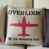 "Free Shipping 18"" Airplane Overlook UK Mission Day Retro Vintage Style Linen Decorative Pillow Case Pillow Cover Cushion Cover"