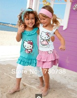Retail Free Shipping 2013 new Brand Summer Hello Kitty Baby Girl Suits Kids Sets headband+Dress+Pants Children Clothing 3pcs Set