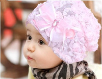 Baby's Winter,spring Beanies Infant  Girl's Flower Hat Lace Bowknot Cap, Free Shipping, 2 Colors Avaliable