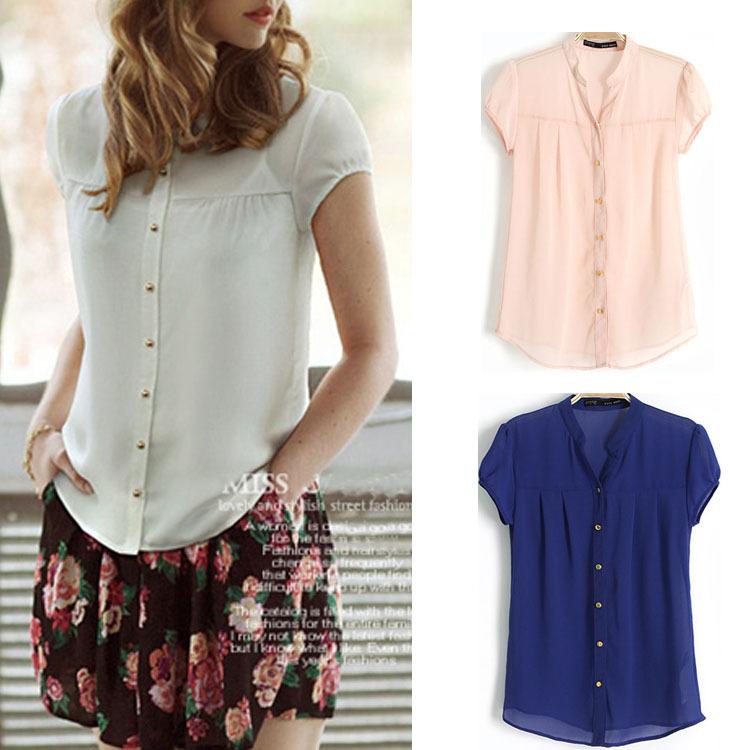 Блузки Из Шифона Рубашечного Типа
