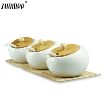 Zuomee kitchen supplies fashion spice bottle spice jar ceramic set golf ball sauce pot