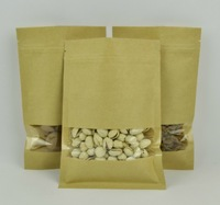 100pcs/lot Freeshipping 12*20cm Flat kraft paper bag with window food ziplock bag flower tea bag