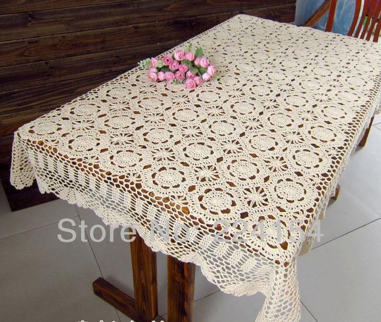 Crochet oblong tablecloth la tienda barato crochet - Manteles shabby chic ...