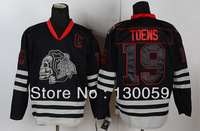 Free Shpping Wholesale Cheap NHL Hockey Jerseys Men's Skull Blackhawks #19 Toews Jersey,Embroidery Logos